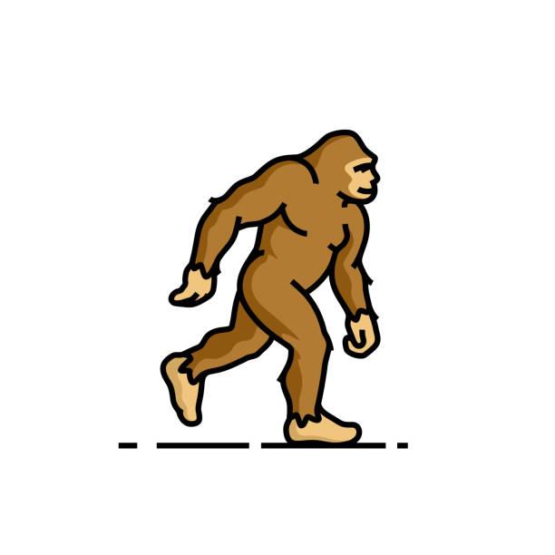 bigfoot-liniensymbol - groß stock-grafiken, -clipart, -cartoons und -symbole