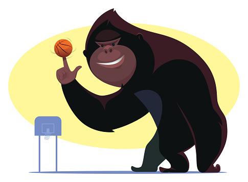 bigfoot playing basketball