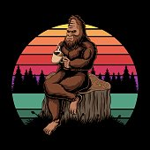 istock Bigfoot relaxing coffee sunset retro vector illustration 1290097600