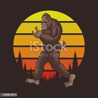 Bigfoot rocker retro sunset vector illustration for your company or brand