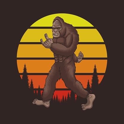 Bigfoot rocker retro sunset vector illustration
