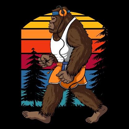 Bigfoot running retro vector illustration