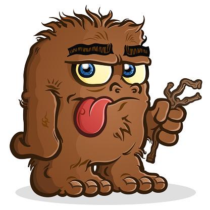 A Bigfoot Sasquatch Cartoon Character holding a Twig