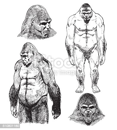 Bigfoot Sasquatch Sketch Pen Drawing Illustration Stock