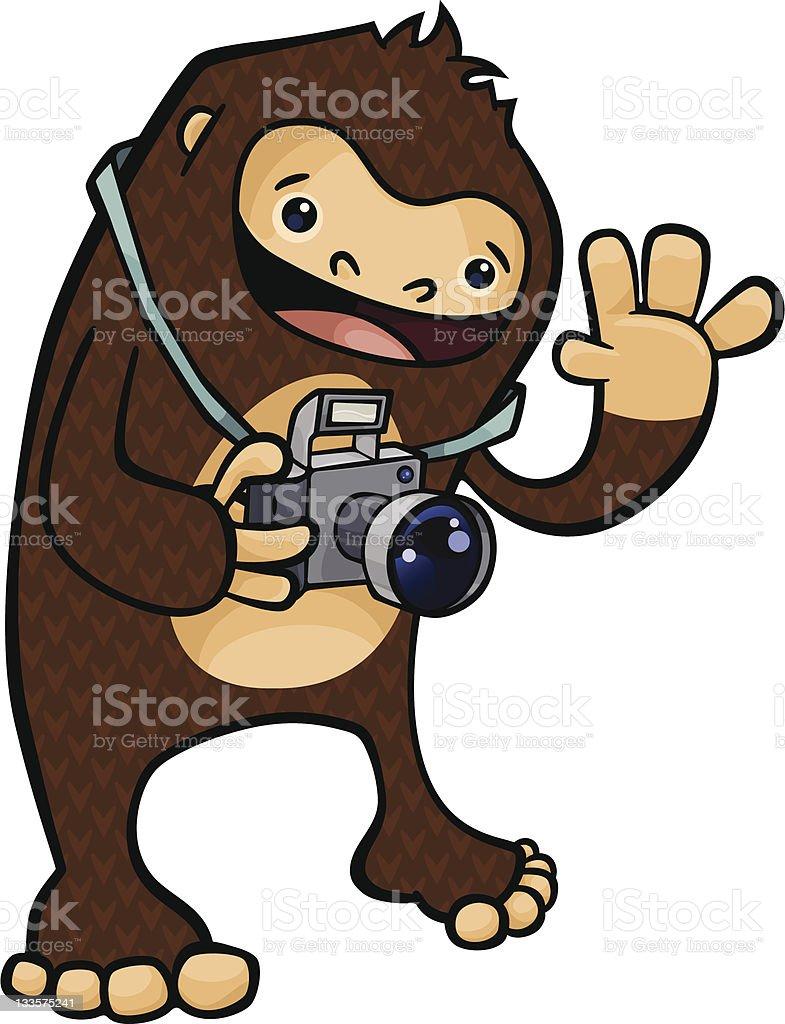 Bigfoot the Tourist vector art illustration