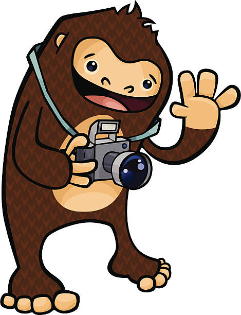 Bigfoot the Tourist vector art illustration
