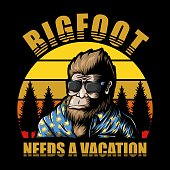 Bigfoot vacation sunset Vector illustration for your company or brand