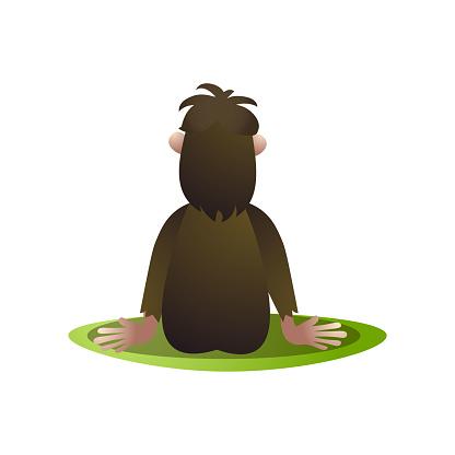 Bigfoot, yeti stay and saw at horizont back view