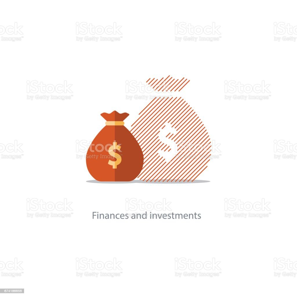 Bigger income, expenses inflation, compound interest growth, budget deficit icon vector art illustration