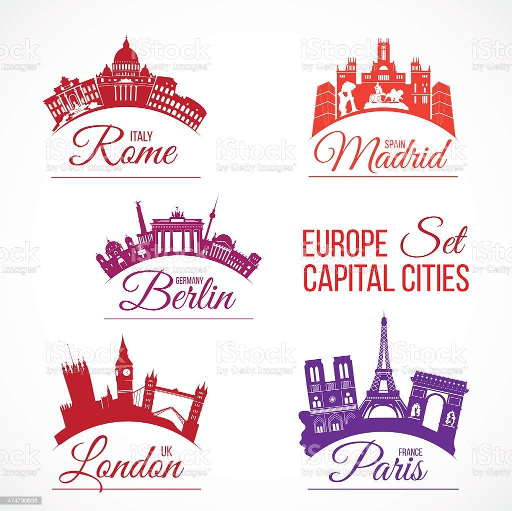 Biggest Europe capital cities vector art illustration