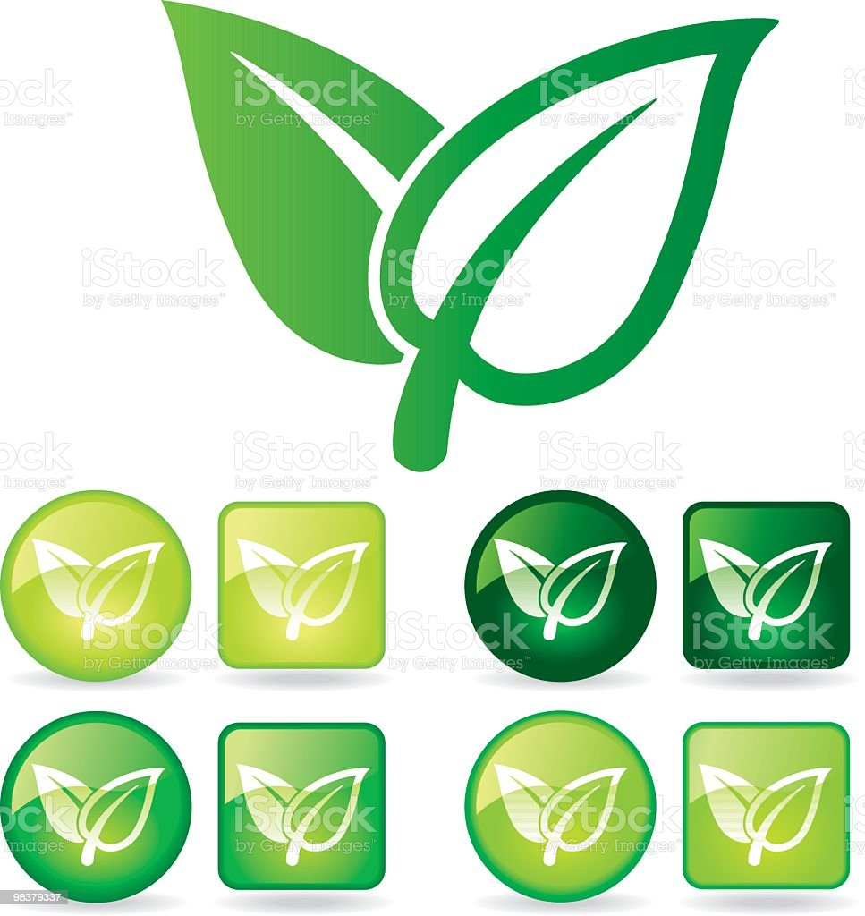 Biggest green leaf icon surrounded by eight green leaf icons royalty-free biggest green leaf icon surrounded by eight green leaf icons stock vector art & more images of circle