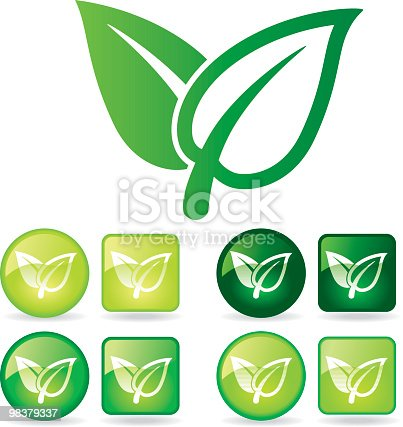 istock Biggest green leaf icon surrounded by eight green leaf icons 98379337