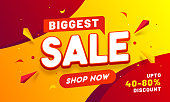 Biggest Sale banner or poster design with 40-80% discount offer and geometric elements.