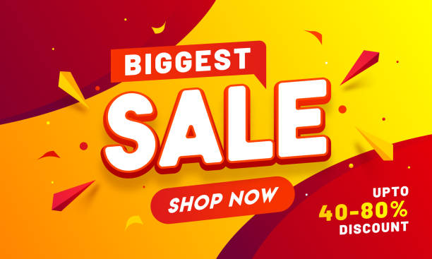 Biggest Sale banner or poster design with 40-80% discount offer and geometric elements. vector art illustration
