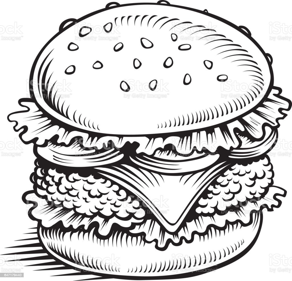 bighamburger with meat vegetables hand drawing stock vector art