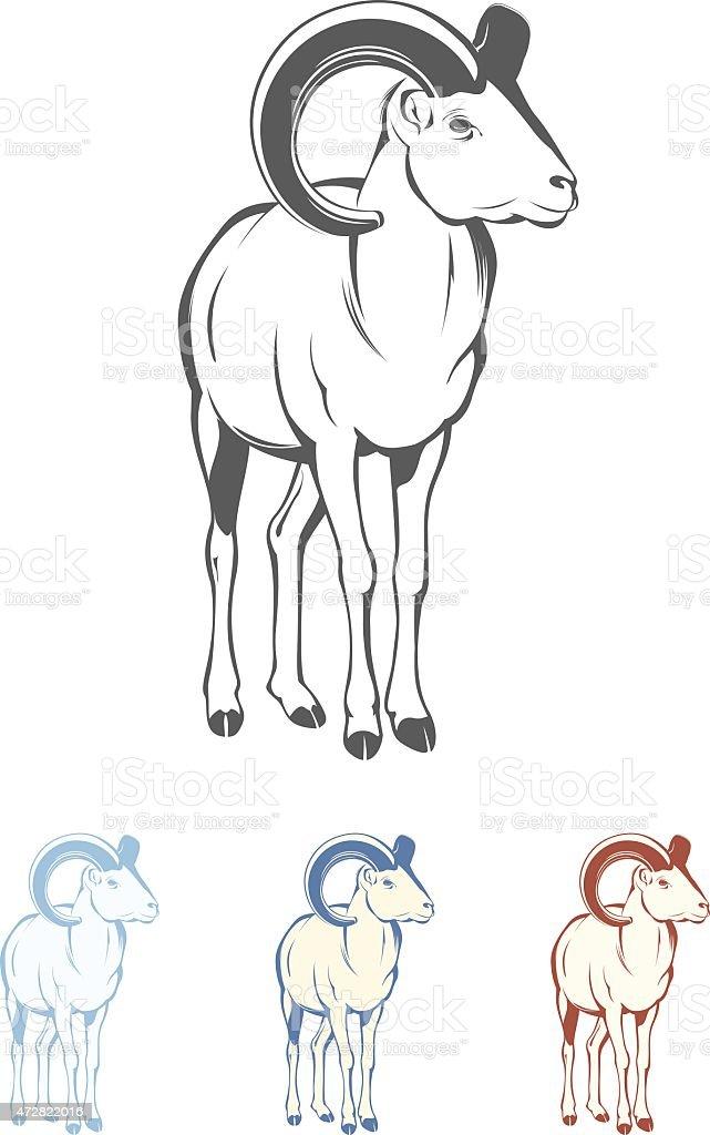 Bighorn Sheep on white background vector art illustration