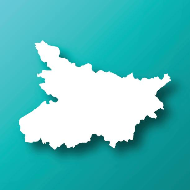 Bihar map on Blue Green background with shadow vector art illustration