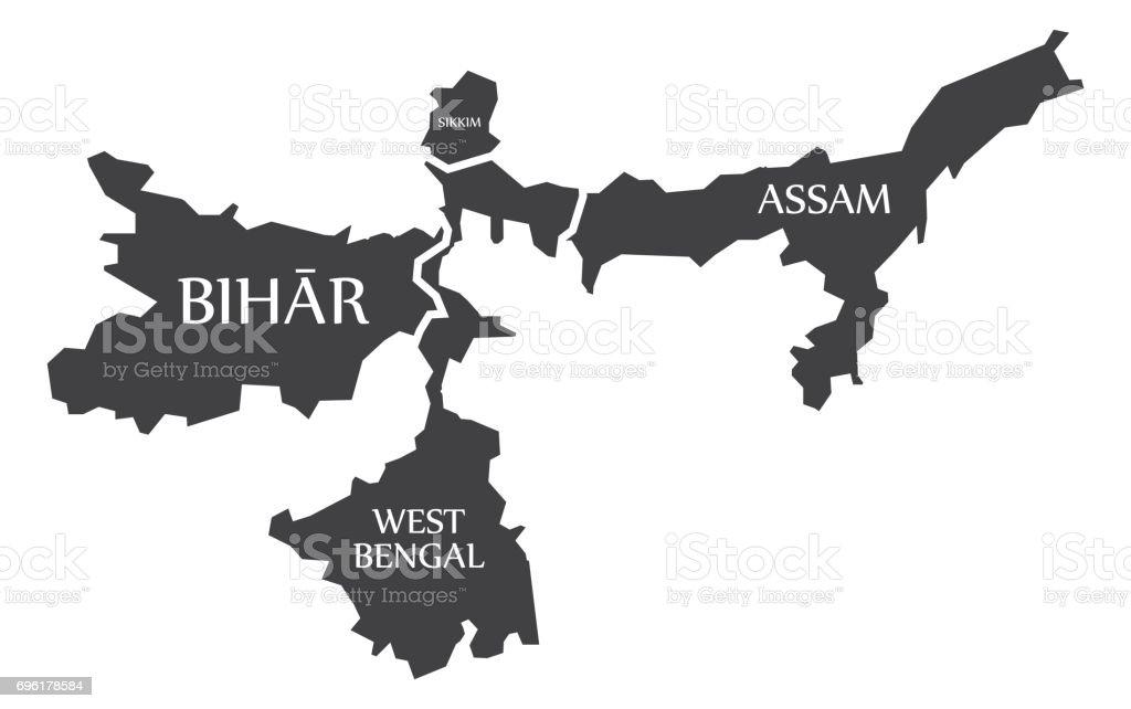 Carte Inde Sikkim.Bihar Bengale Sikkim Assam Carte Illustration Of Indian Declare