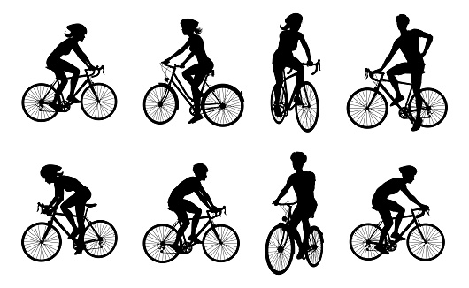 Bike and Bicyclist Silhouettes Set
