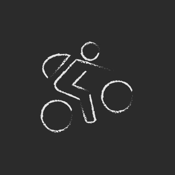 Bike and cyclist icon drawn in chalk vector art illustration
