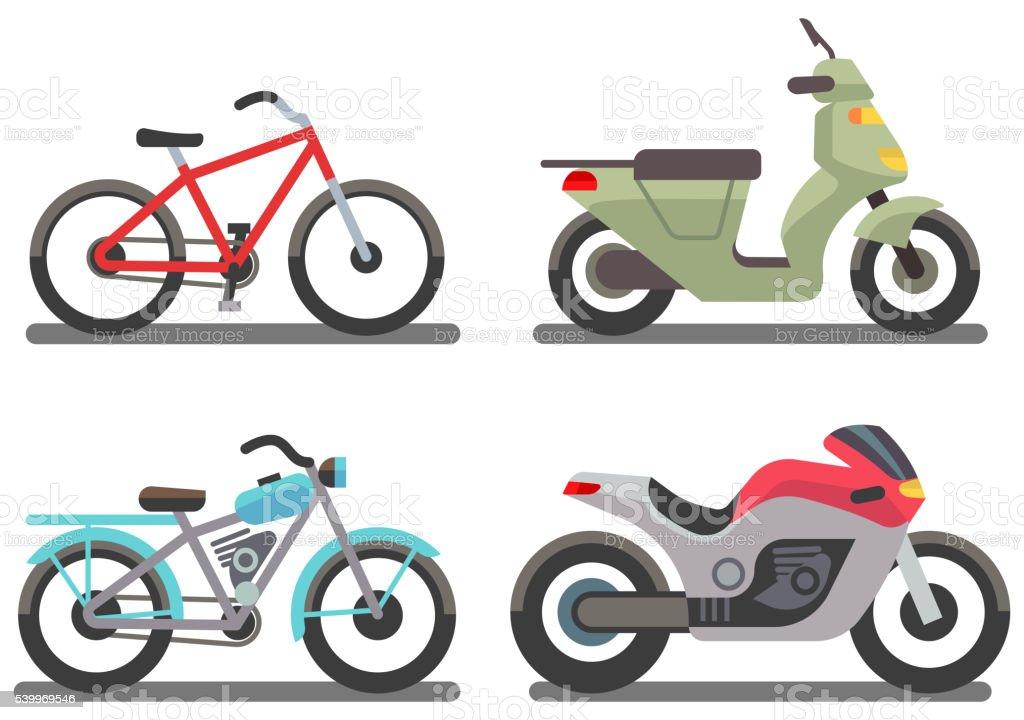 Bike and motorbike vector illustration vector art illustration