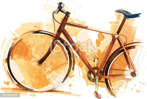 Image shows a modern bike with different sketchy colors and a watercolor-effect; vectorimage,drawing with graphic tablet; with big jpeg (350dpi); without opening paths; only one layer; no gradients; better for white backgrounds. EPS 8, no gradients
