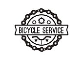 Bike service badge vintage. Sports icon sticker for print on t-shirt, retro monochrome design, shop for bicycle gear, parts and accessories. Vector flat style illustration isolated on white background