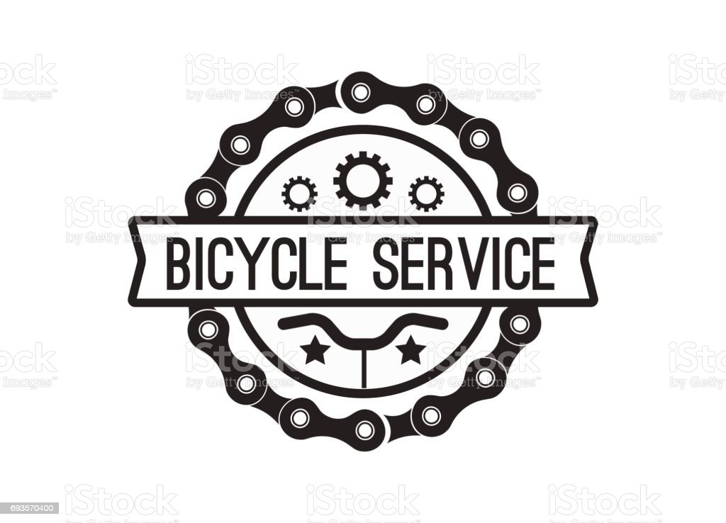Bike badge vintage style vector art illustration