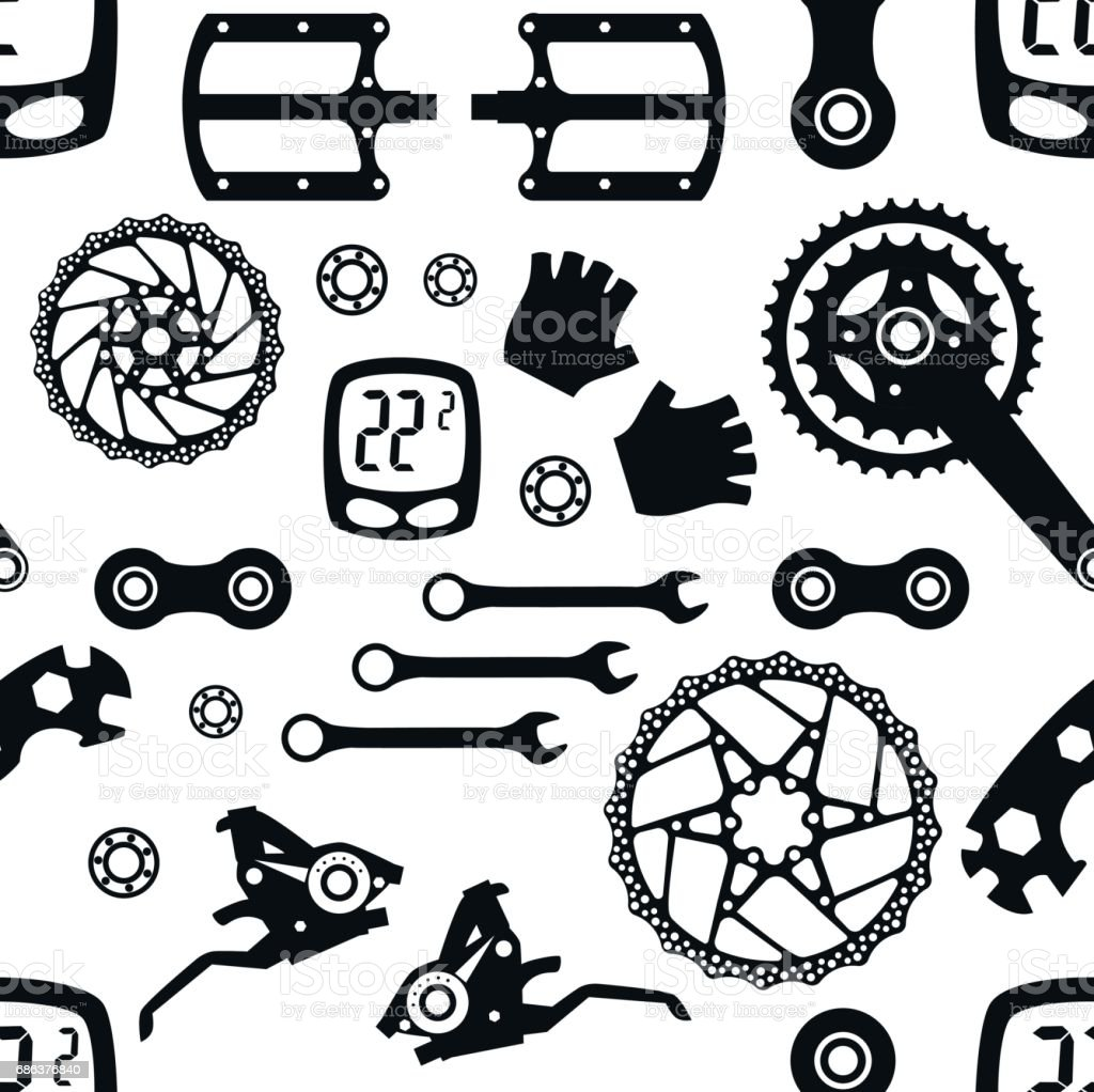 Bike. Bicycle parts. Seamless pattern. vector art illustration