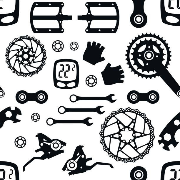 Fahrrad. Fahrradteile. Nahtlose Muster. – Vektorgrafik