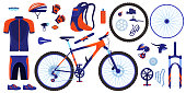 istock Bike bicycle vector illustration set, cartoon flat cycle parts infographic elements collection of cyclist gear, sportswear 1277170660