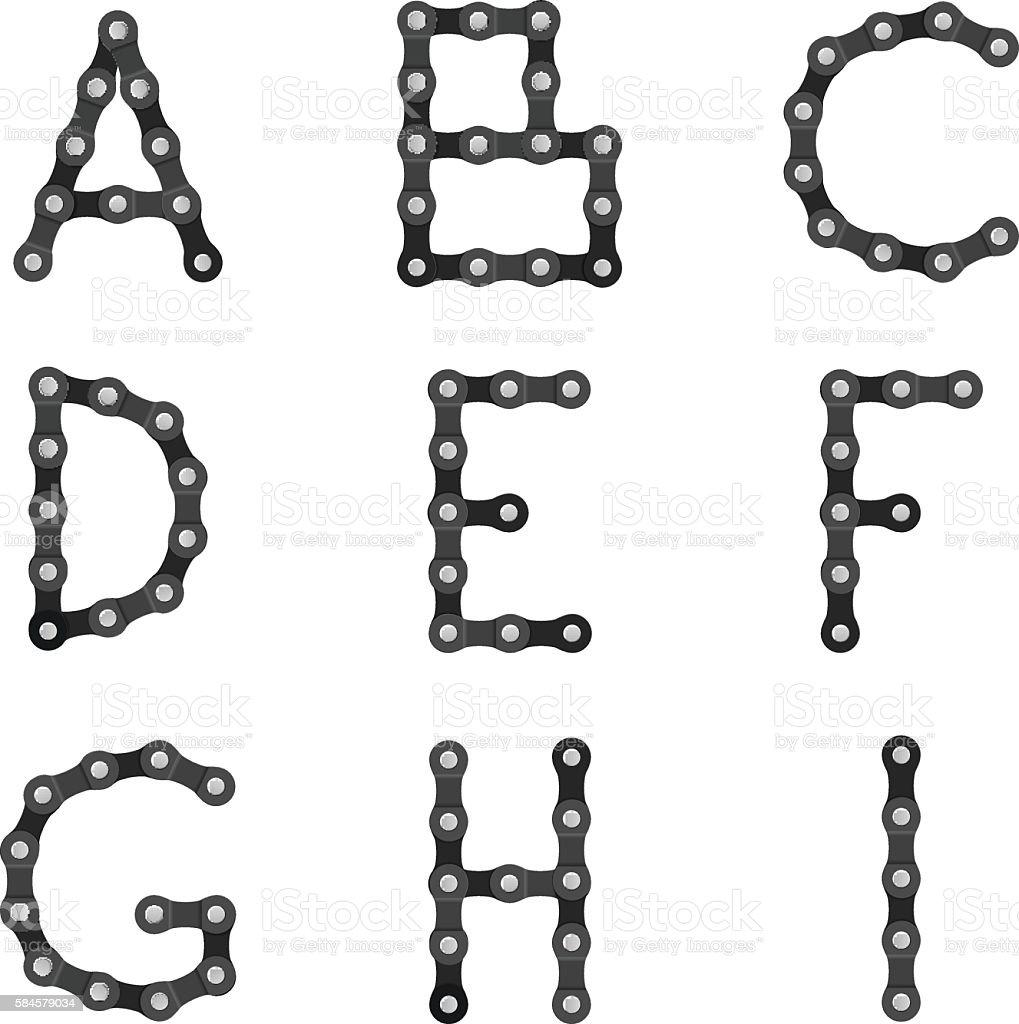 Bike chain alphabet A to I