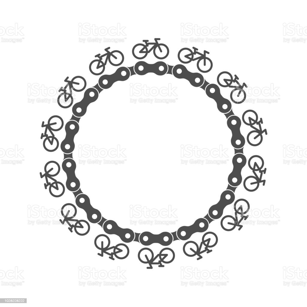 Bike Chain Circle Frame With Simple Bicycle Icons Around Vector ...