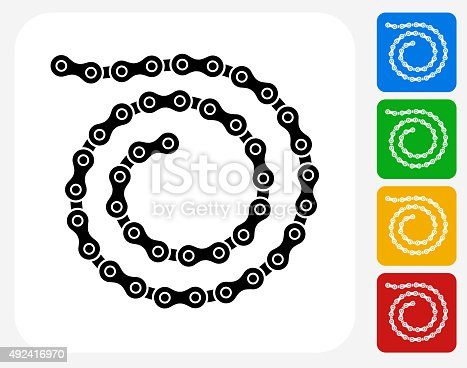Bike Chain Icon. This 100% royalty free vector illustration features the main icon pictured in black inside a white square. The alternative color options in blue, green, yellow and red are on the right of the icon and are arranged in a vertical column.
