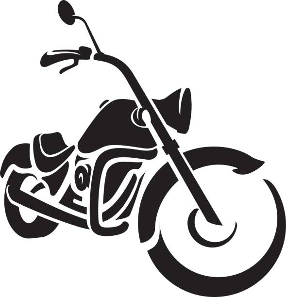 bike chopper ride front - motorcycle stock illustrations, clip art, cartoons, & icons