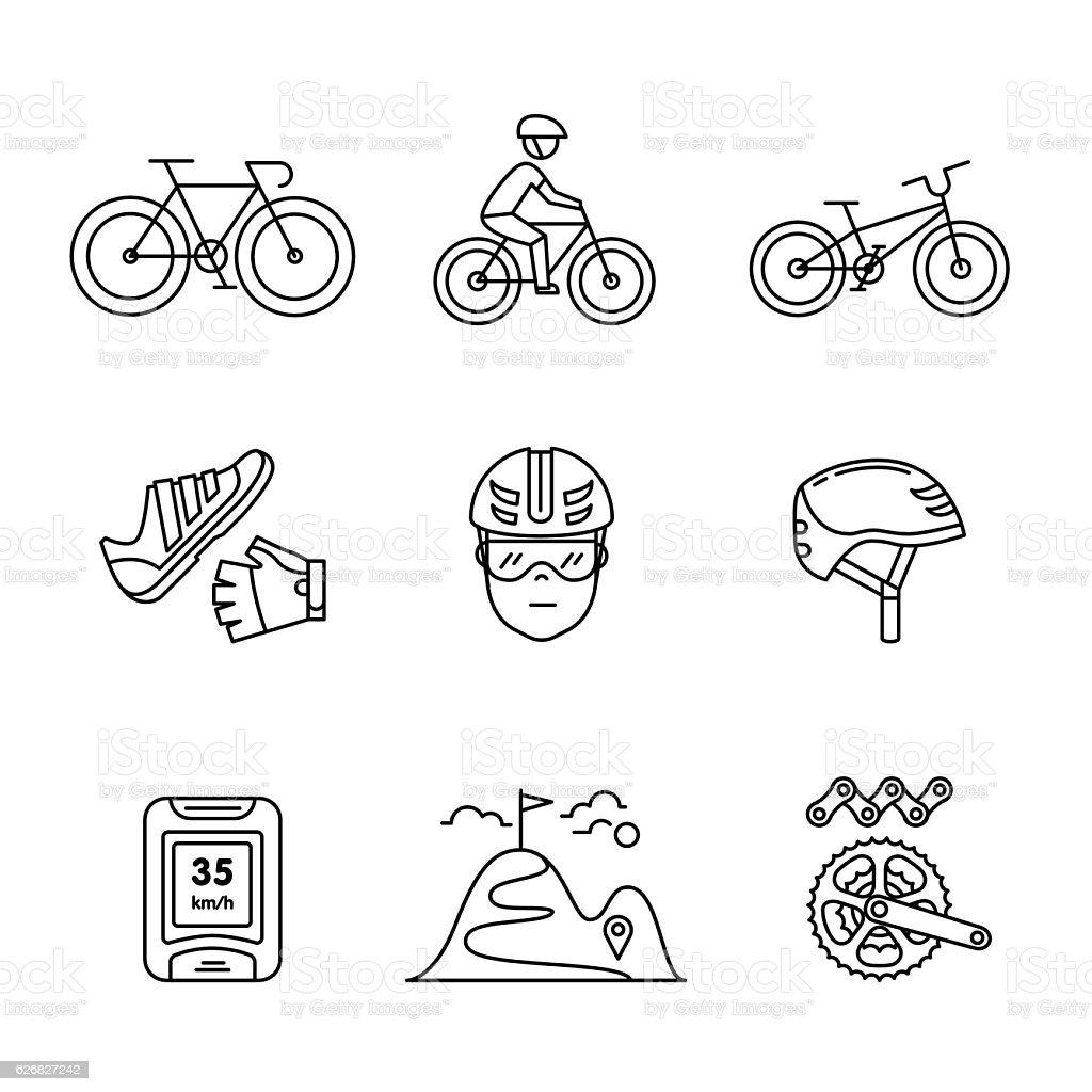Bicicleta de bicicleta e passeios de bicicleta, acessórios conjunto de sinais - ilustração de arte em vetor