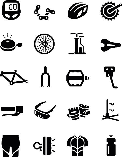 Bike Cycling Part Equipment Clothes Vector Icon accessories, apparel, bell, bicycle, bike, black, bottle, break, chain, clothes, clothing, crank, cycle, design, element, equipment, frame, gear, glasses, glove, gps, graphic, hand, helmet, icon, illustration, led, light, pad, pants, part, pedal, pictogram, protection, pump, race, saddle, set, shirt, short, sport, stand, suspension, symbol, tire, tools, track, vector, wear, wheel bicycle chain stock illustrations