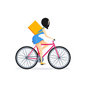 Bike delivery concept. Vector woman character in flat or cartoon style isolated on white background