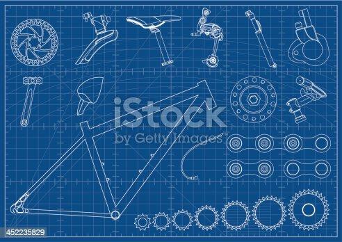 Blueprint with Bike Equipments.