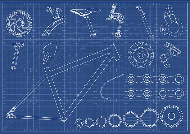 Bike Equipments Blueprints Blueprint with Bike Equipments. bicycle chain stock illustrations