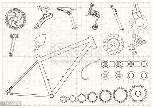 istock Bike Equipments Blueprints 493500579