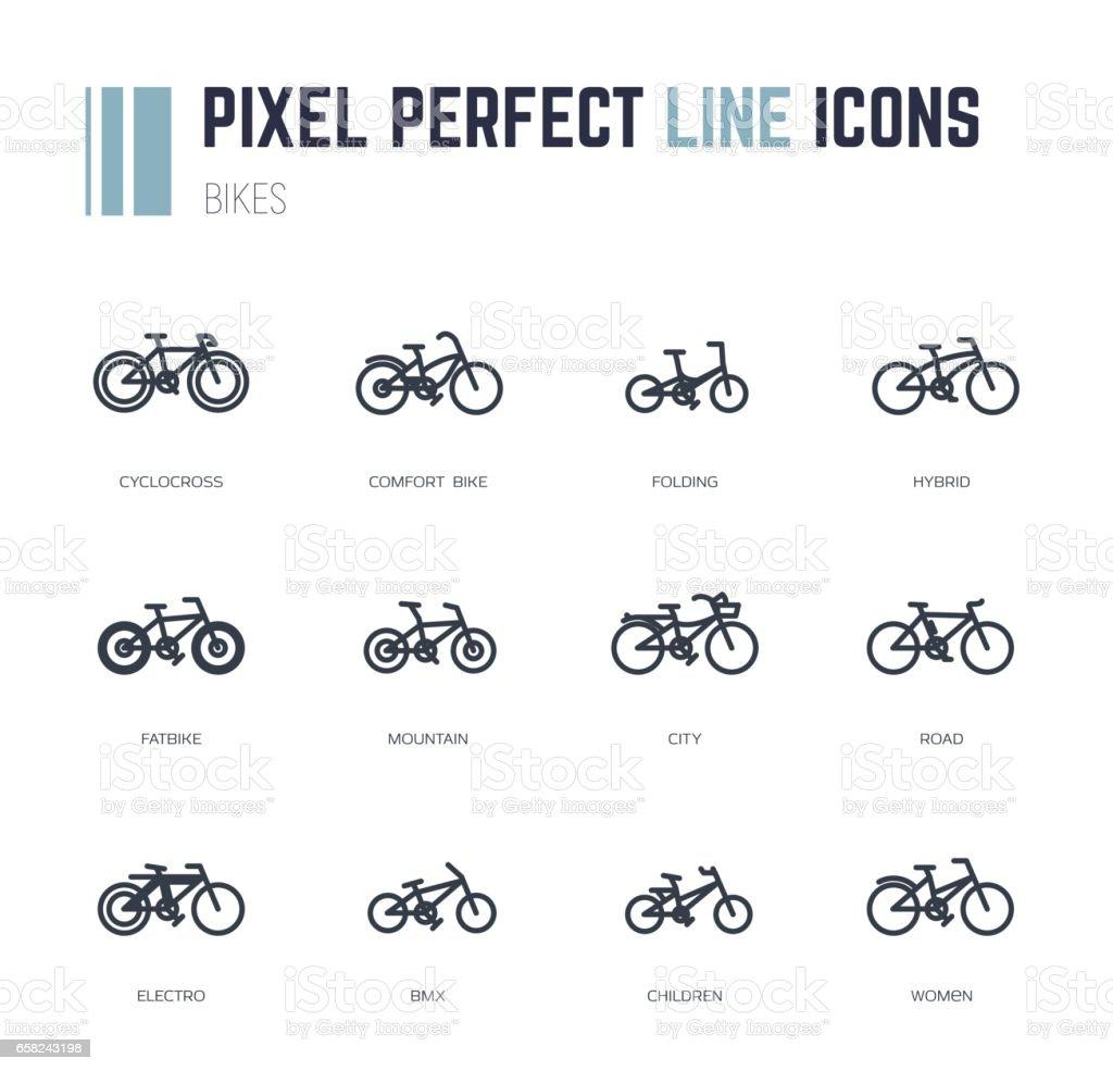 Ícones de quadros de bicicleta - ilustração de arte em vetor
