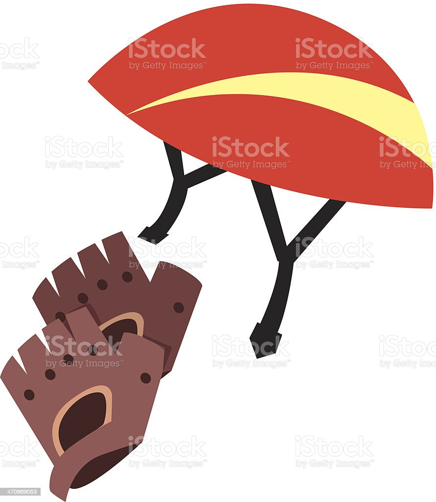 Bike Helmet Gloves C vector art illustration