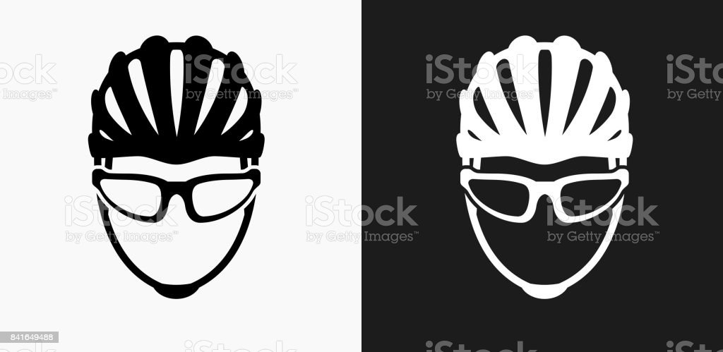 Bike Helmet Icon on Black and White Vector Backgrounds vector art illustration