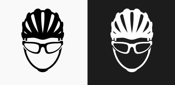 Bike Helmet Icon on Black and White Vector Backgrounds vector art illustration