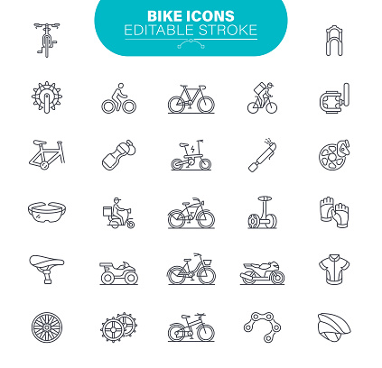 Bike Icons Editable Stroke. Bicycle, Vector, Symbol, Gear, Illustration