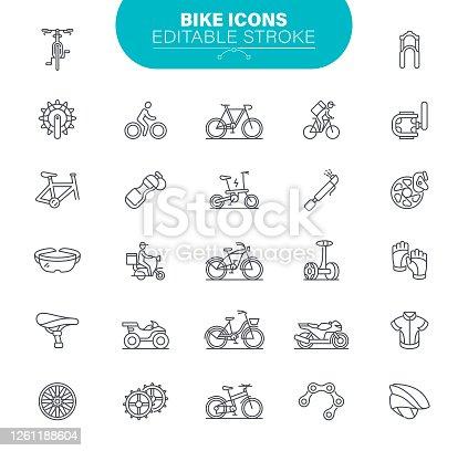 istock Bike Icons Editable Stroke. Bicycle, Vector, Symbol, Gear, Illustration 1261188604