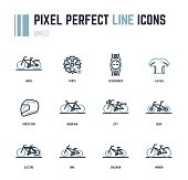 Bike line icons for web site shop or print. Bike frame styles and accessories. Flat style pixel perfect illustration. Contains icons like helmet, watch and sport t-shirt with lines.