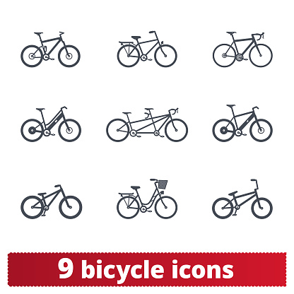 Bike Icons. Vector Set Of Detailed Bike Signs