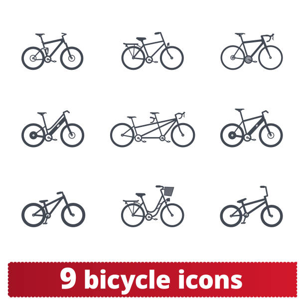 Bike Icons. Vector Set Of Detailed Bike Signs Bicycle icons set. Vector collection of different bike signs. Bmx, tandem, e-bike, city and mountain bike. Isolated on white. hybrid vehicle stock illustrations